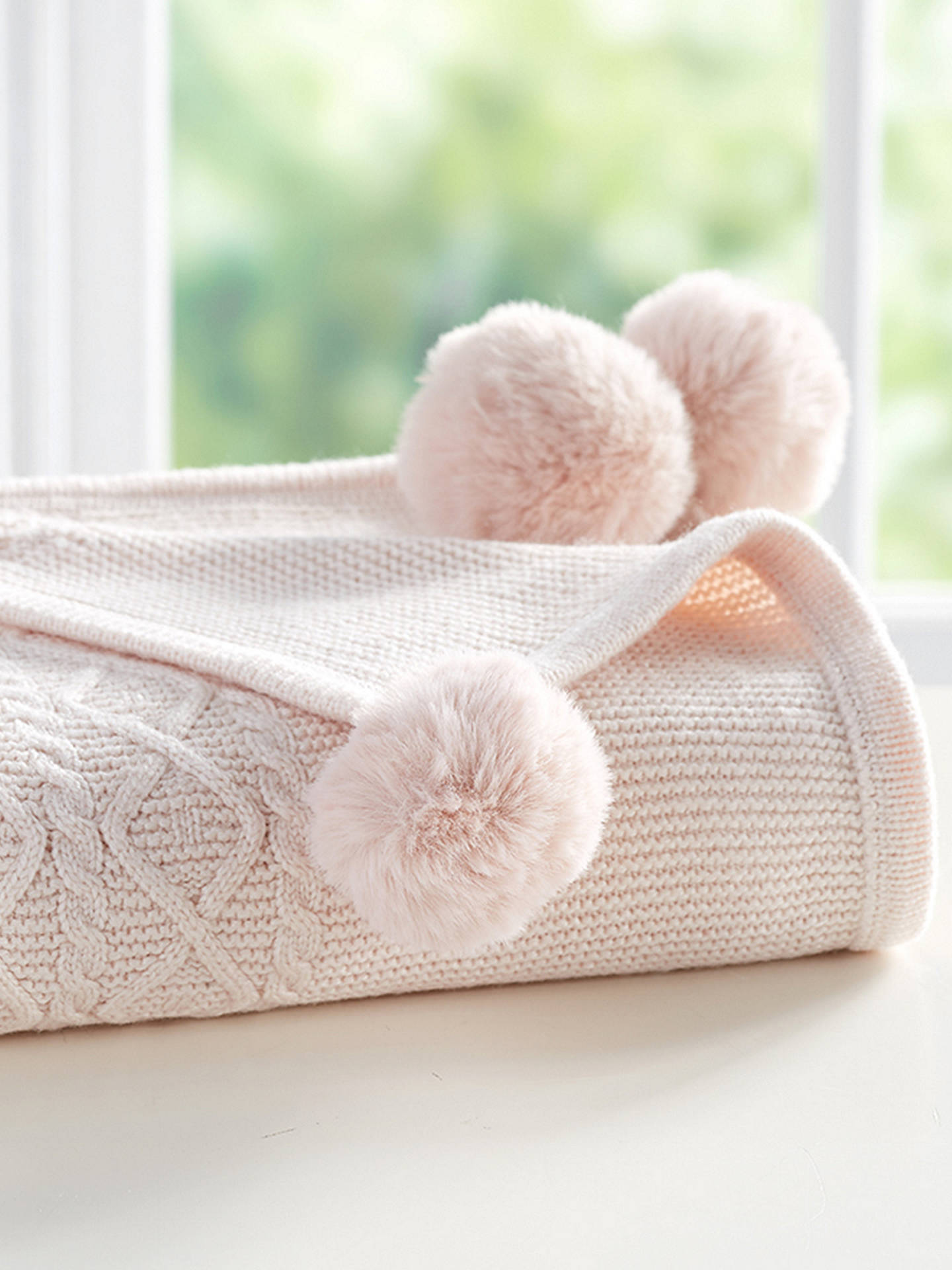 Buy Pottery Barn Kids Cable Knit Pom Pom Baby Blanket, Blush Online at johnlewis.com