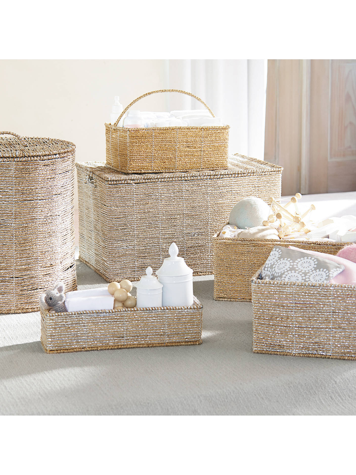 BuyPottery Barn Kids Rope Toy Chest, Silver Online at johnlewis.com