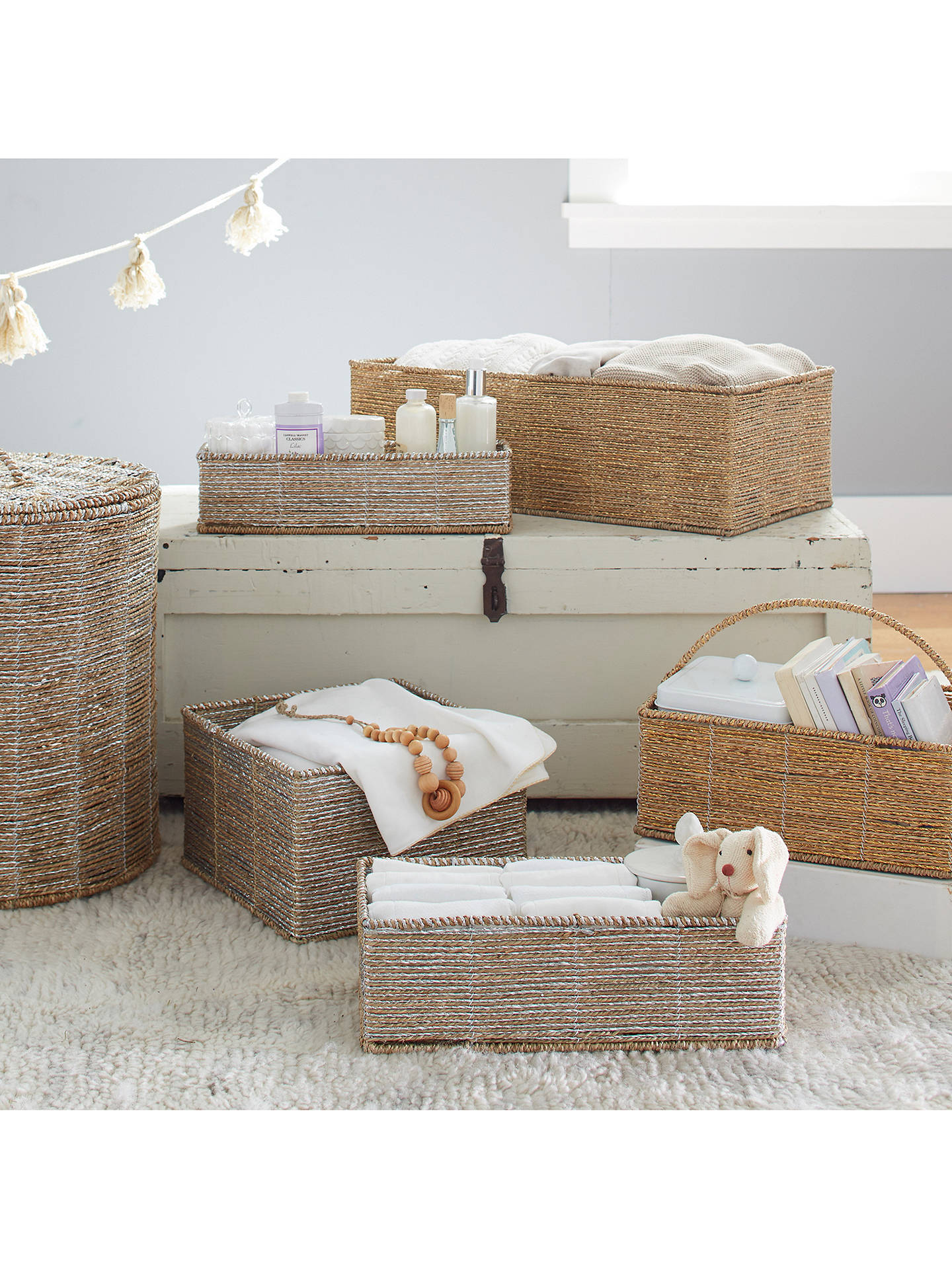 BuyPottery Barn Kids Small Rope Storage Basket, Silver Online at johnlewis.com