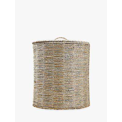 Pottery Barn Kids Metallic Rope Storage Hamper, Silver