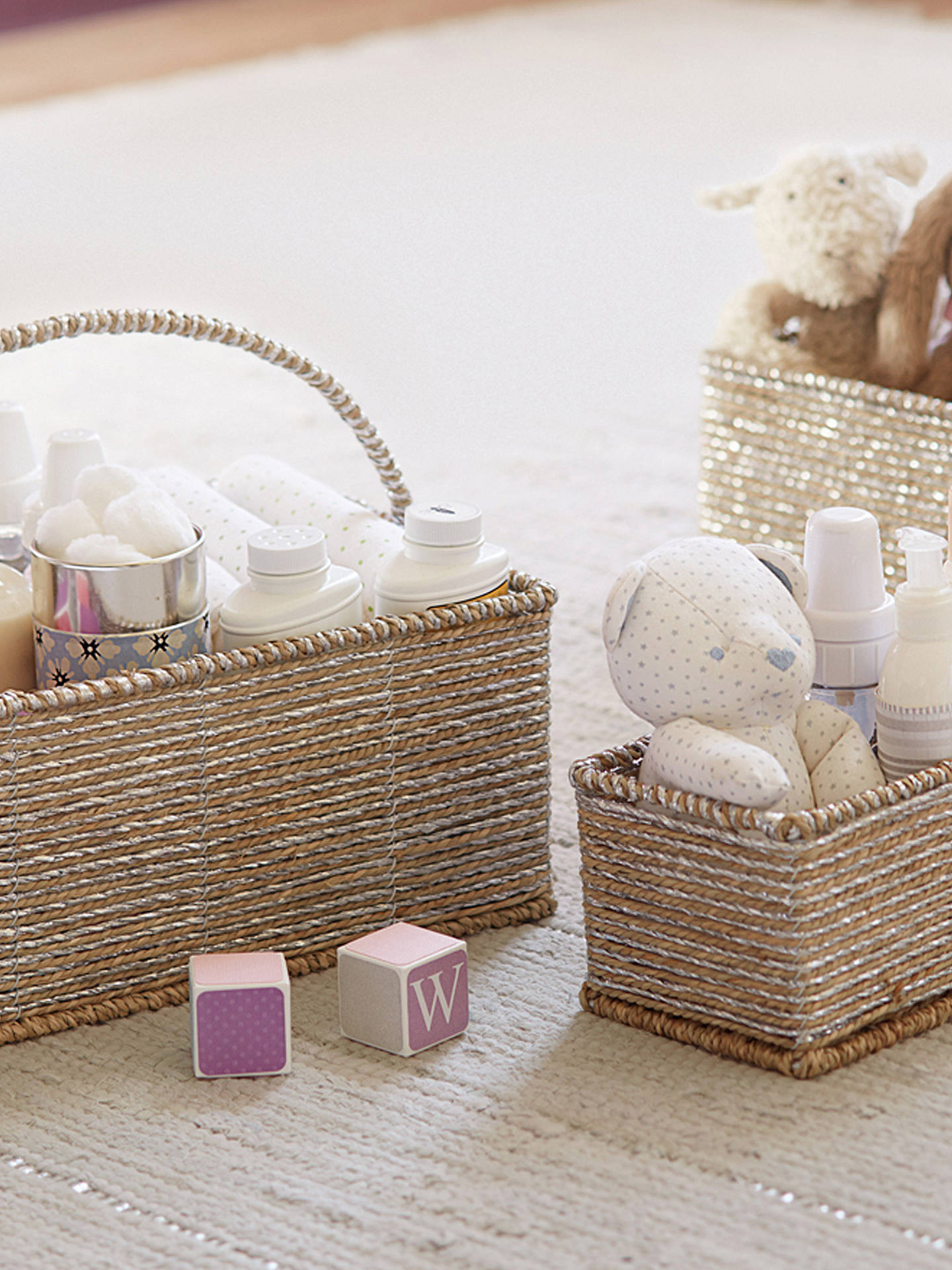 BuyPottery Barn Kids Changing Table Rope Storage Basket, Silver Online at johnlewis.com