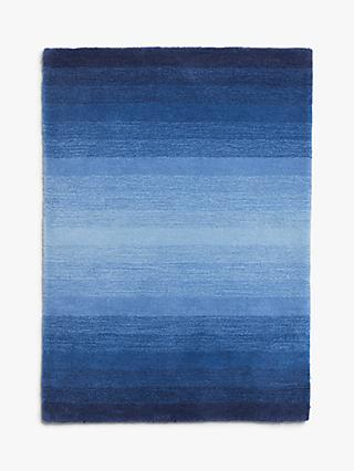 little home at John Lewis Ollie Striped Children's Rug, Blue, L100 x W70cm