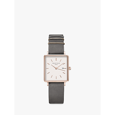 ROSEFIELD QWGR-Q12 Women's The Boxy Date Leather Strap Watch, Grey/White
