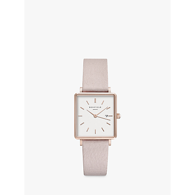 ROSEFIELD QWPR-Q11 Women's The Boxy Date Leather Strap Watch, Blush/White