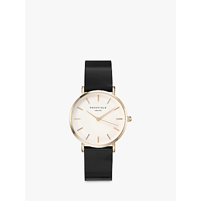ROSEFIELD Women's Premium Gloss Leather Strap Watch
