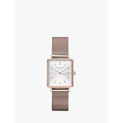 ROSEFIELD Women's The Boxy Date Mesh Bracelet Strap Watch
