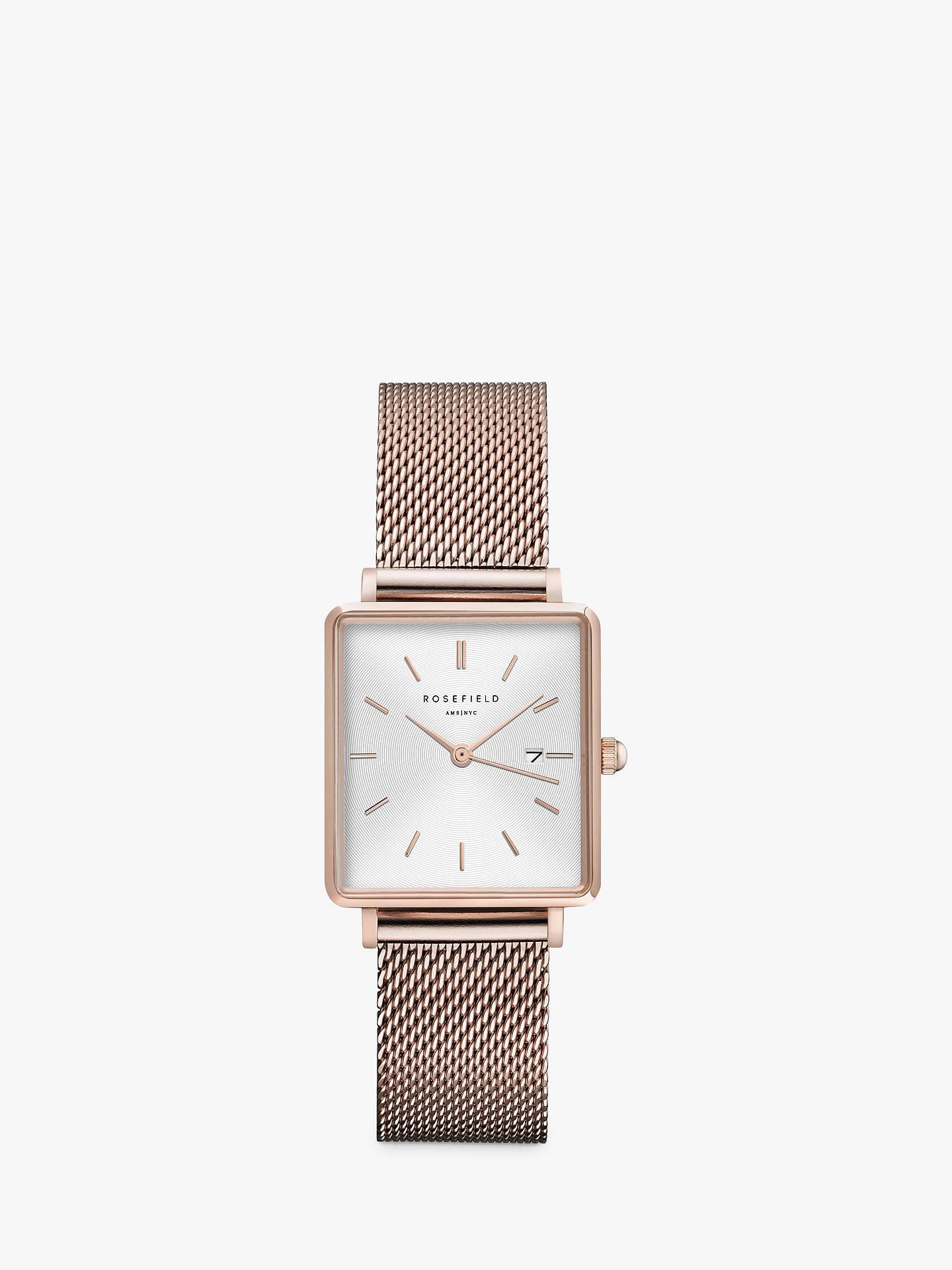 meilleures baskets 8dfde d06b5 ROSEFIELD Women's The Boxy Date Mesh Bracelet Strap Watch, Rose Gold/White  QWSR-Q01