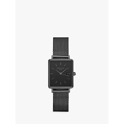 ROSEFIELD QBMB-Q04 Women's The Boxy Date Mesh Bracelet Strap Watch, Black