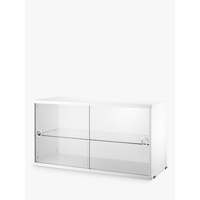 string Storage Cabinet Section with Glass Sliding Doors