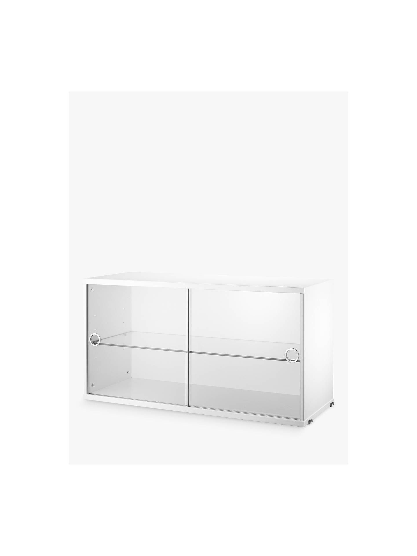 String Storage Cabinet Section With Gl Sliding Doors White