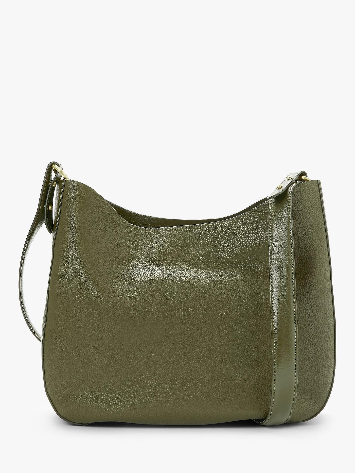 BuyJohn Lewis   Partners Freya Leather Hobo Bag, Olive Online at johnlewis.  ... e03708f4a9