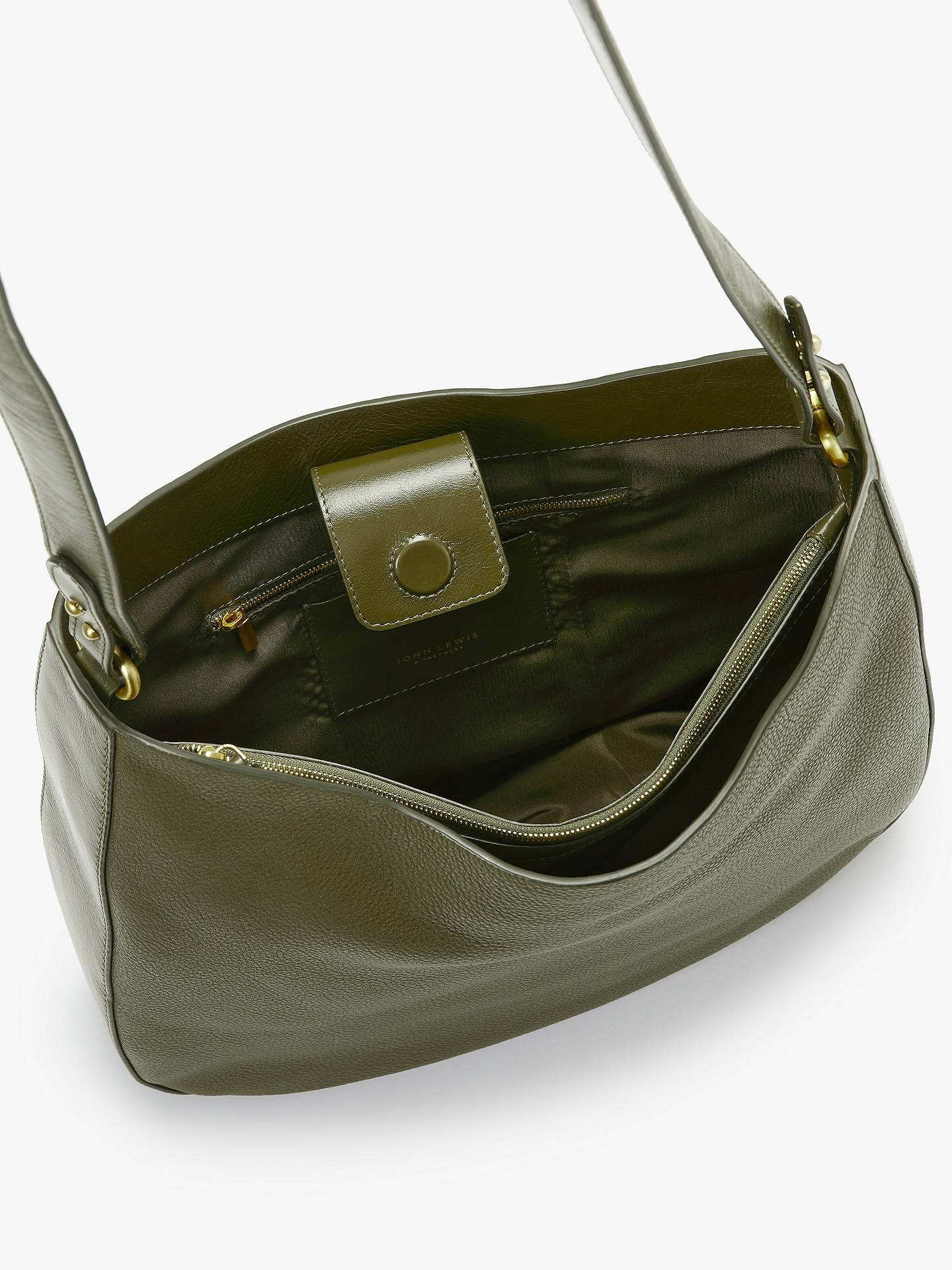 ... BuyJohn Lewis   Partners Freya Leather Hobo Bag, Olive Online at  johnlewis. ... 30e529d7a0