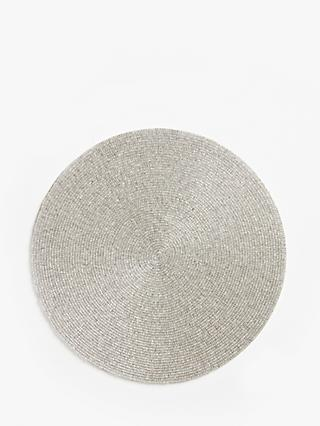 John Lewis & Partners Round Beaded Placemats, Set of 4