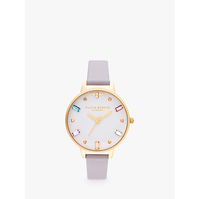 Image of Olivia Burton OB16RB11 Women's Rainbow Bee Leather Strap Watch, Violet/White