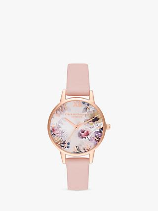 84994e40d354 Olivia Burton OB16EG115 Women's Sunlight Florals Leather Strap Watch,  Blush/Multi