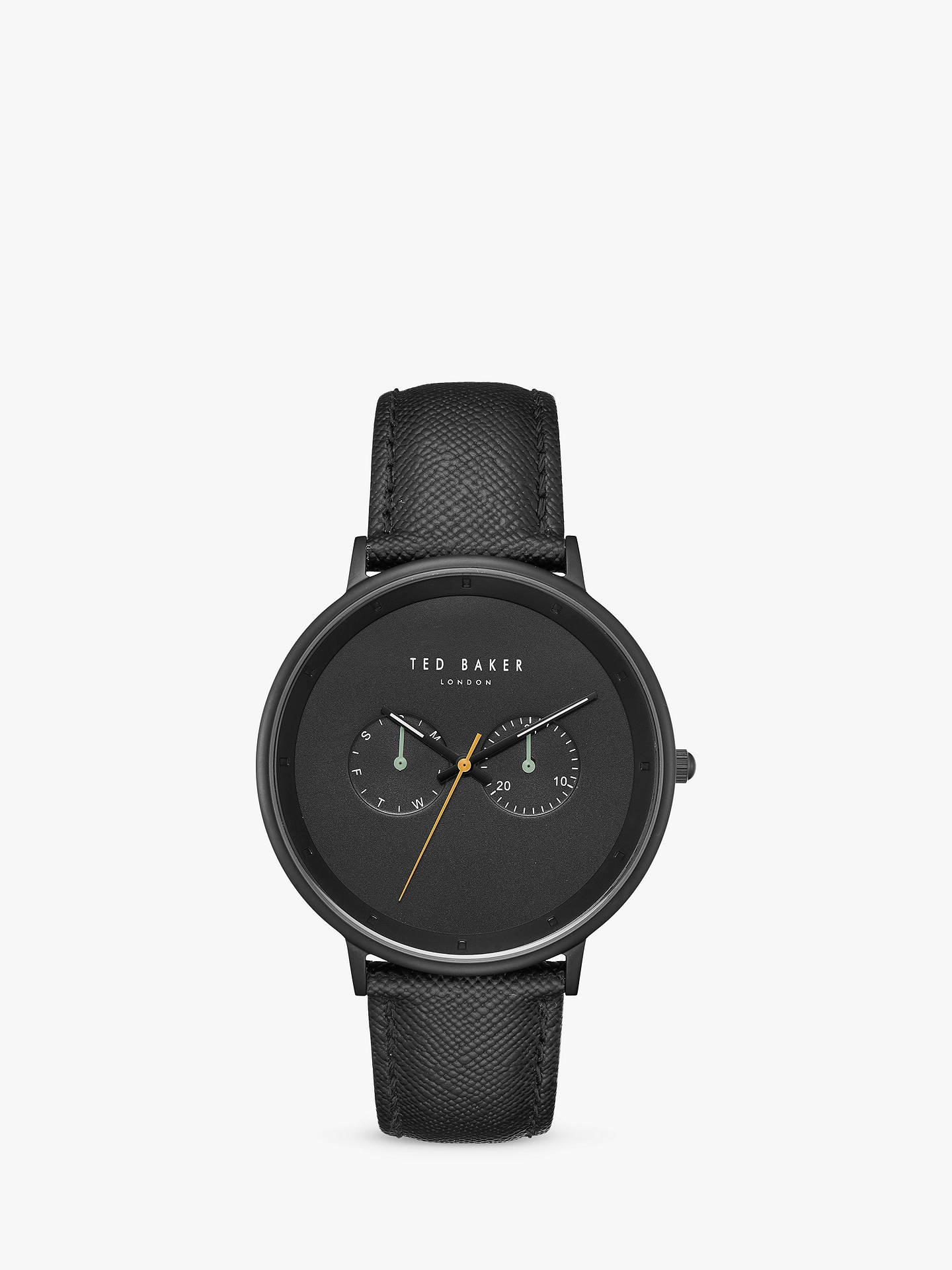 BuyTed Baker TE50277002 Men's Brad Leather Strap Watch, Black Online at johnlewis.com
