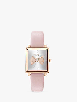 Buy Ted Baker Women's Isabella Bow Leather Strap Watch, Pink/Silver TE50516001 Online at johnlewis.com