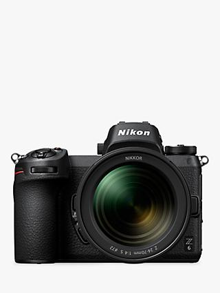 "Nikon Z6 Compact System Camera with 24-70mm Lens, 4K UHD, 24.5MP, Wi-Fi, Bluetooth, OLED EVF, 3.2"" Tiltable Touch Screen"