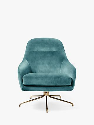 west elm Valentina Swivel Chair, Worn Velvet Dusty Teal
