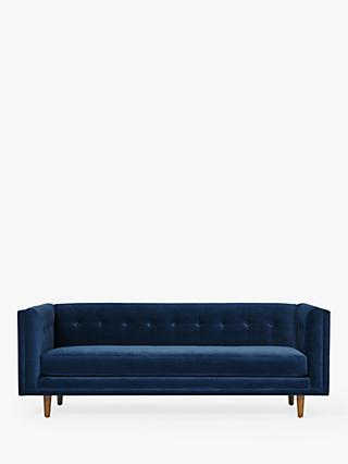 west elm Bradford Large 3 Seater Sofa, Performance Velvet Ink Blue
