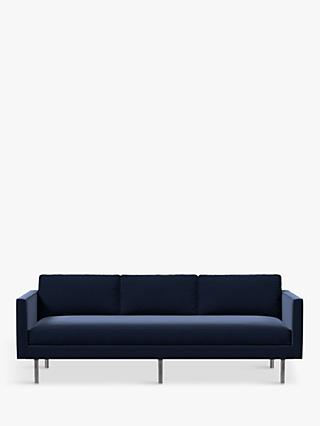 west elm Axel 3 Seater Sofa, Performance Velvet Ink Blue