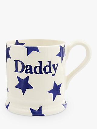 Emma Bridgewater Blue Star 'Daddy' Half Pint Mug, White/Blue, 284ml