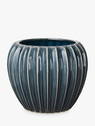 Buy Broste Copenhagen Wide Flower Pot, Blue Online at johnlewis.com
