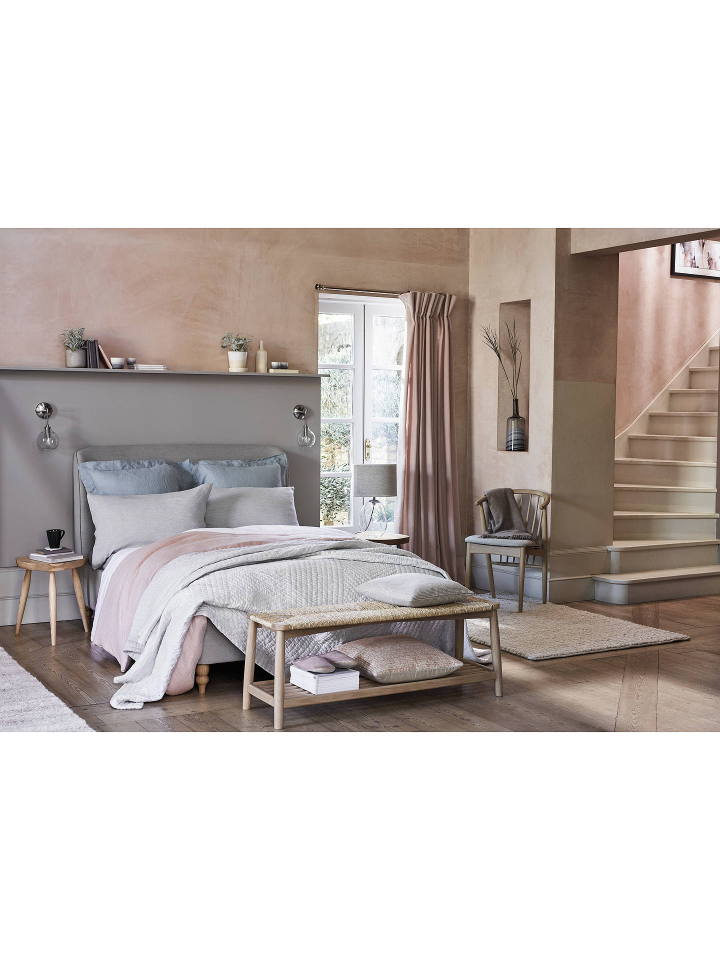 Buy John Lewis & Partners Show-Wood Upholstered Bed Frame, Double, Topaz Grey Online at johnlewis.com