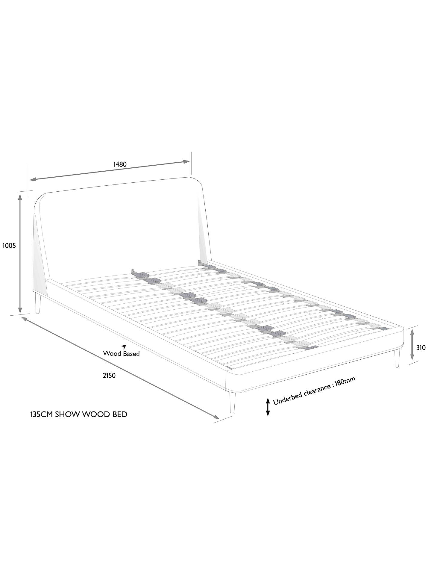 Buy John Lewis & Partners Show-Wood Upholstered Bed Frame, Double, Erin Charcoal Online at johnlewis.com
