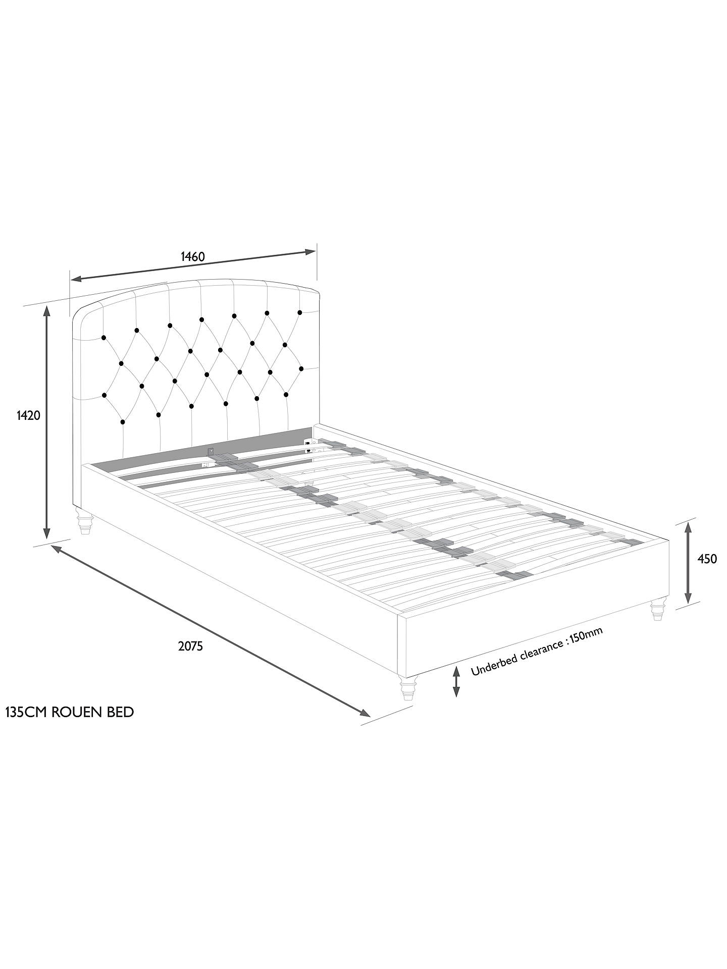 Buy John Lewis & Partners Rouen Upholstered Bed Frame, Double, Topaz Charcoal Online at johnlewis.com