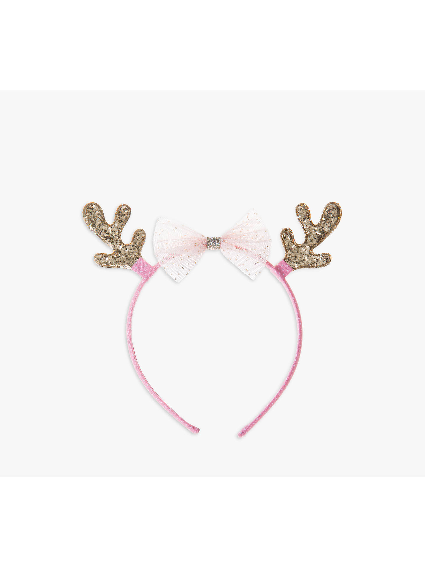 BuyRockahula Children's Glittery Reindeer Headband, Pink/Gold Online at johnlewis.com