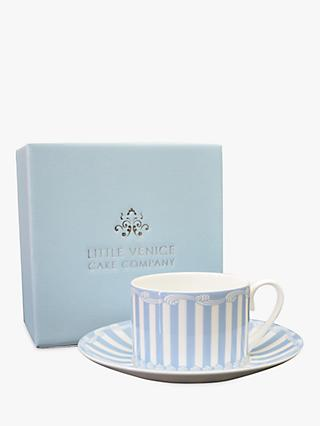Little Venice Cake Company Striped Cup & Saucer, 200ml, Blue/White