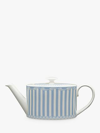 Little Venice Cake Company Striped 2 Cup Teapot, 550ml, Blue/White