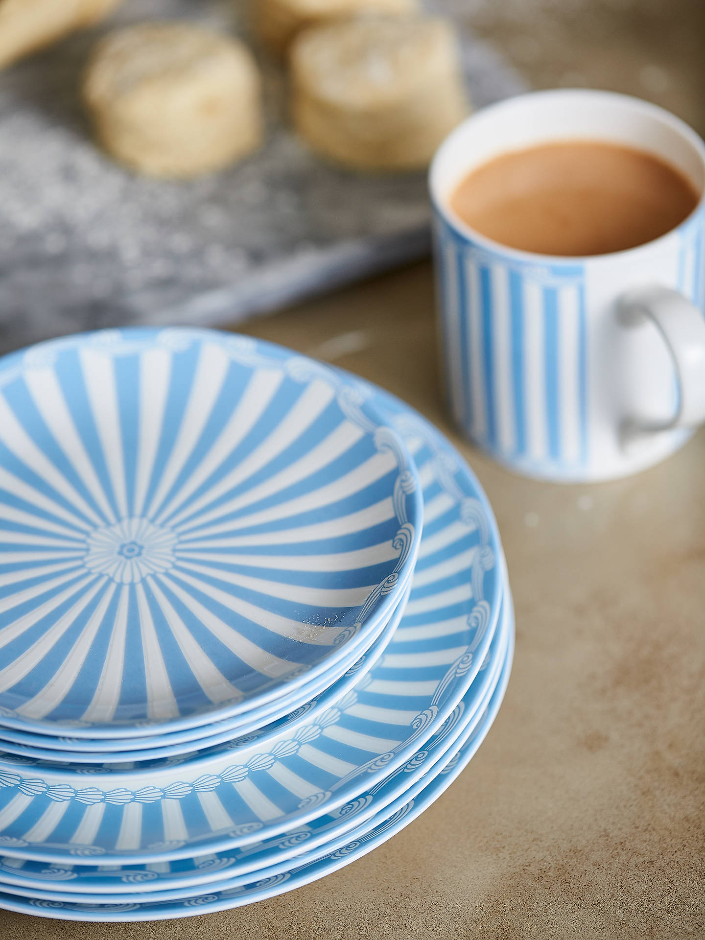 Buy Little Venice Cake Company Coupe Plate, Blue/White, 16.5cm Online at johnlewis.com