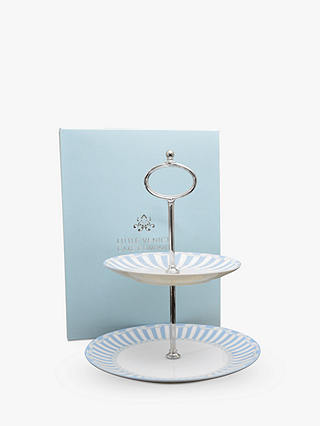 Buy Little Venice Cake Company Striped 2-Tier Cake Stand, Blue/White Online at johnlewis.com
