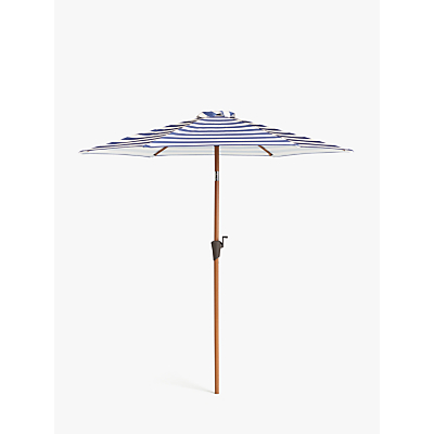 John Lewis & Partners Wood-Effect Wind-Up Striped Parasol, 2.7m, Navy/White