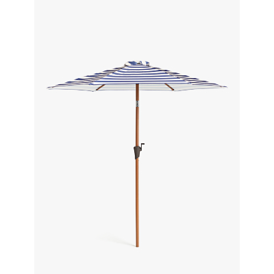 John Lewis & Partners Wood-Effect Wind-Up Striped Parasol, 2.2m, Navy/White