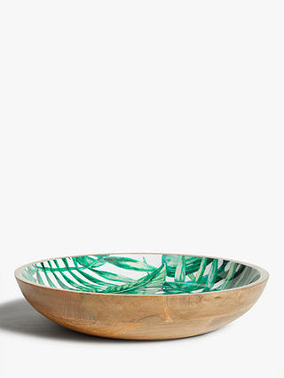 Buy John Lewis & Partners Tropical Large Mango Wood Serving Bowl, 38cm, Natural/Green Online at johnlewis.com