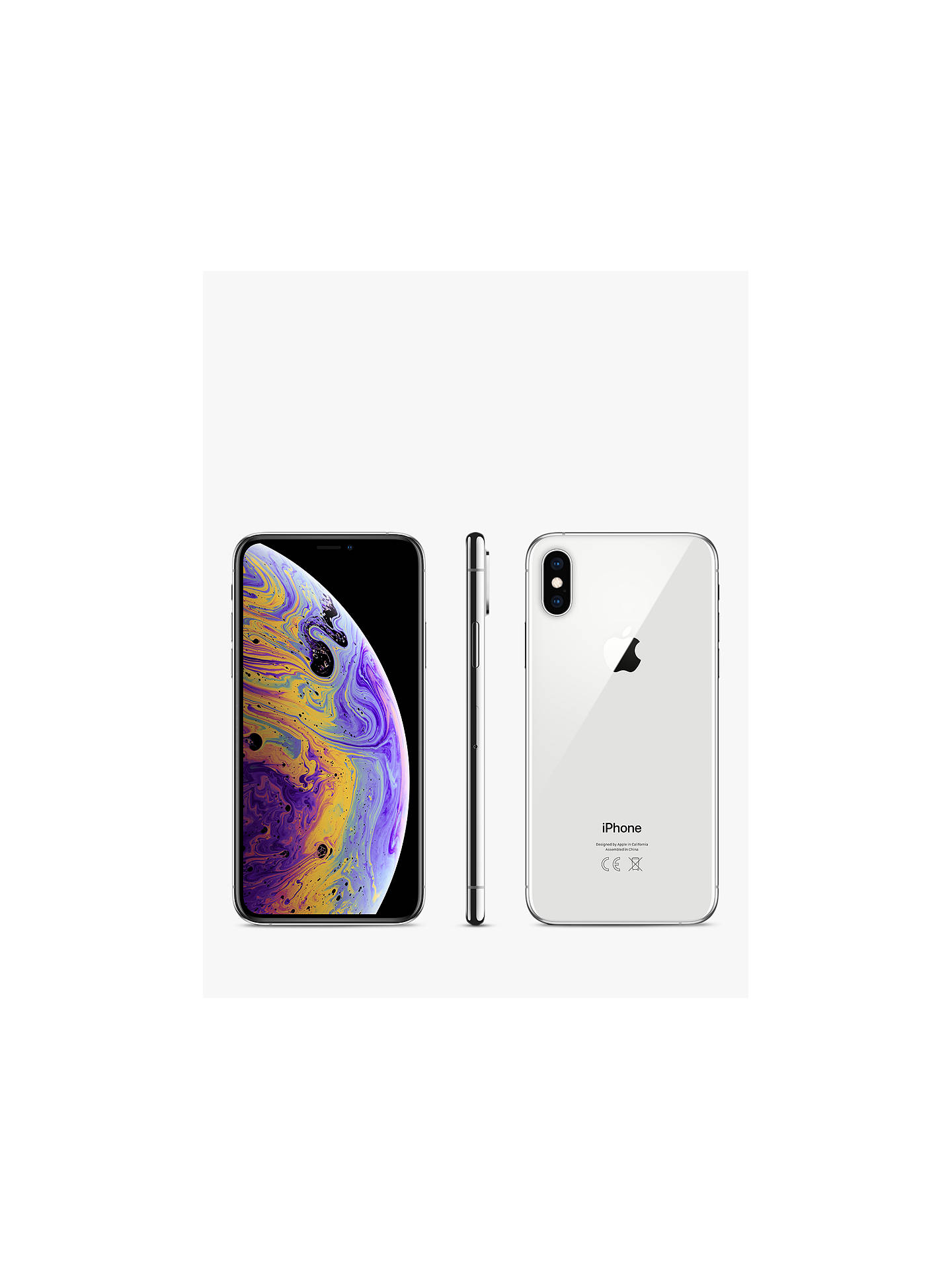 "BuyApple iPhone XS, iOS, 5.8"", 4G LTE, SIM Free, 256GB, Silver Online at johnlewis.com"