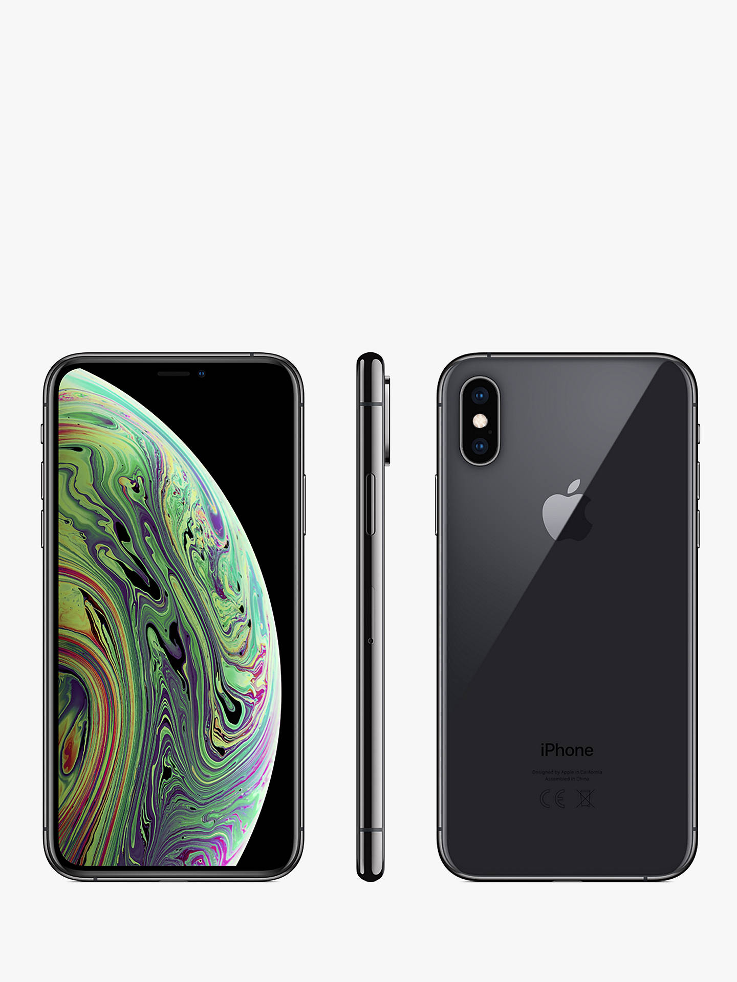 "Buy Apple iPhone XS, iOS, 5.8"", 4G LTE, SIM Free, 256GB, Space Grey Online at johnlewis.com"