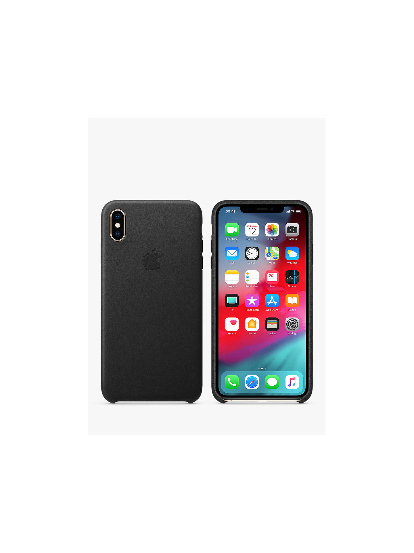 BuyApple Leather Case for iPhone XS Max, Black Online at johnlewis.com