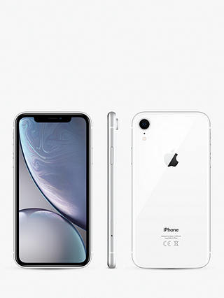 "Buy Apple iPhone XR, iOS, 6.1"", 4G LTE, SIM Free, 256GB, White Online at johnlewis.com"