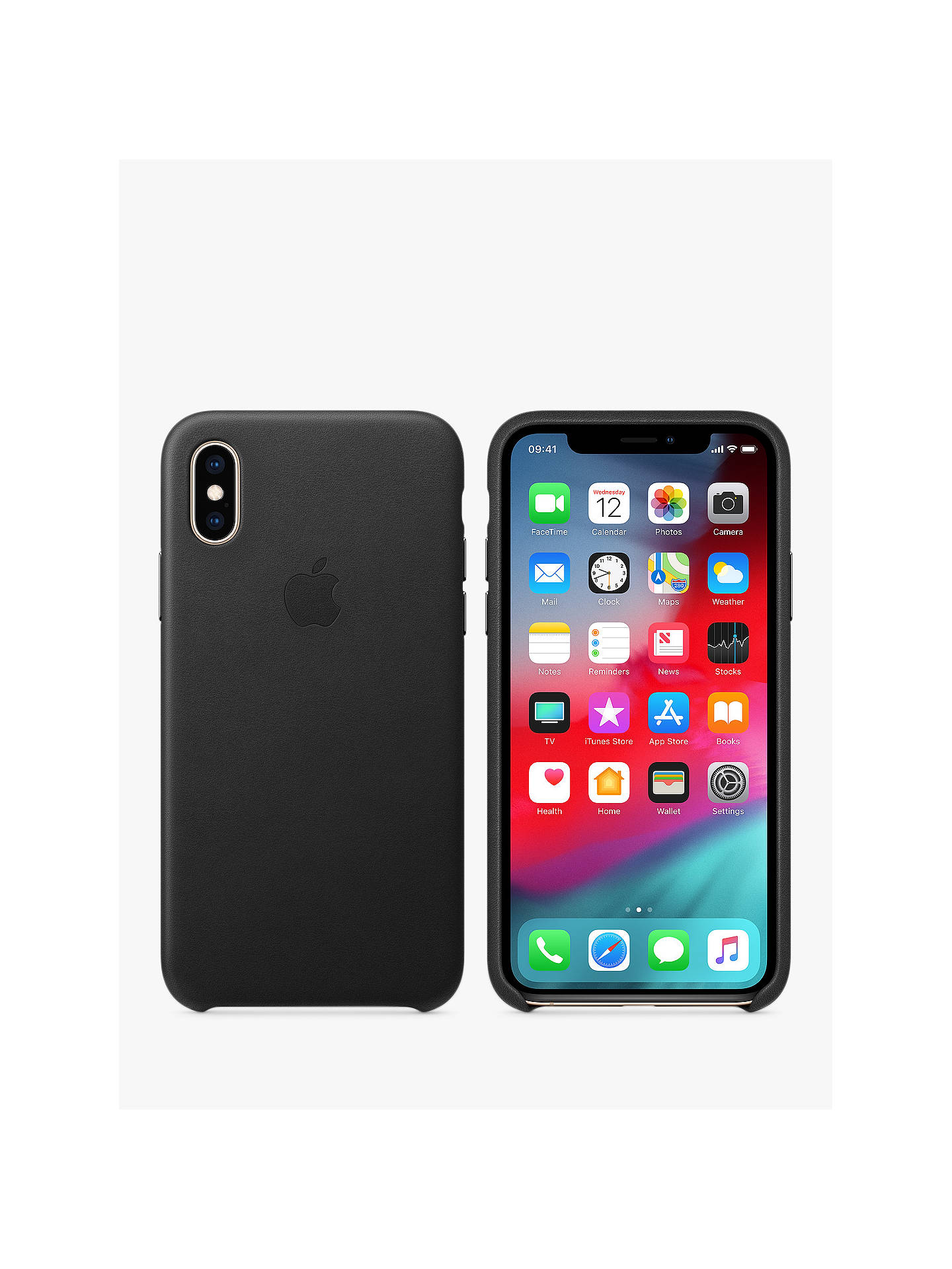 BuyApple Leather Case for iPhone XS, Black Online at johnlewis.com