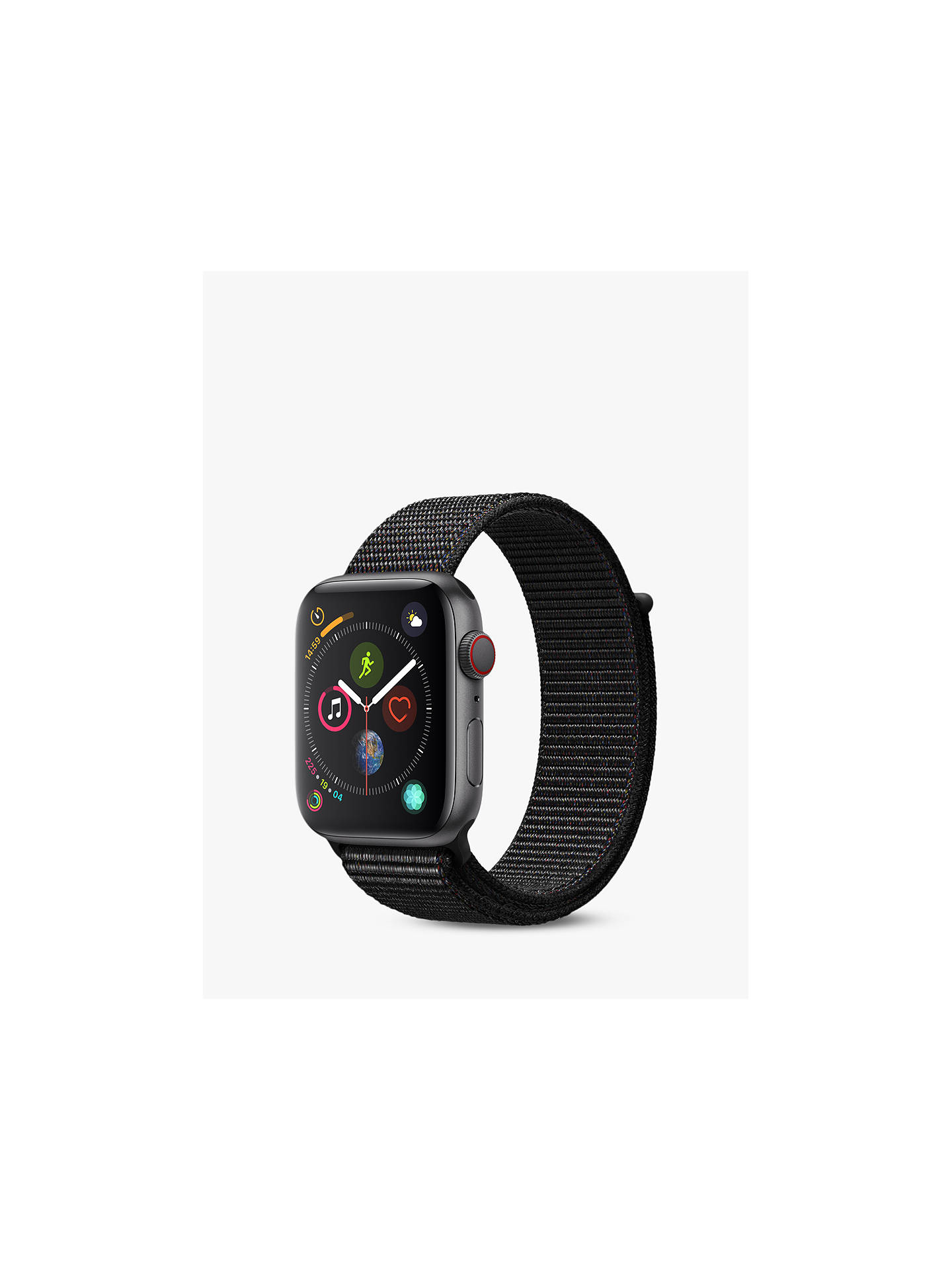 BuyApple Watch Series 4, GPS and Cellular, 44mm Space Grey Aluminium Case with Sport Loop, Black Online at johnlewis.com