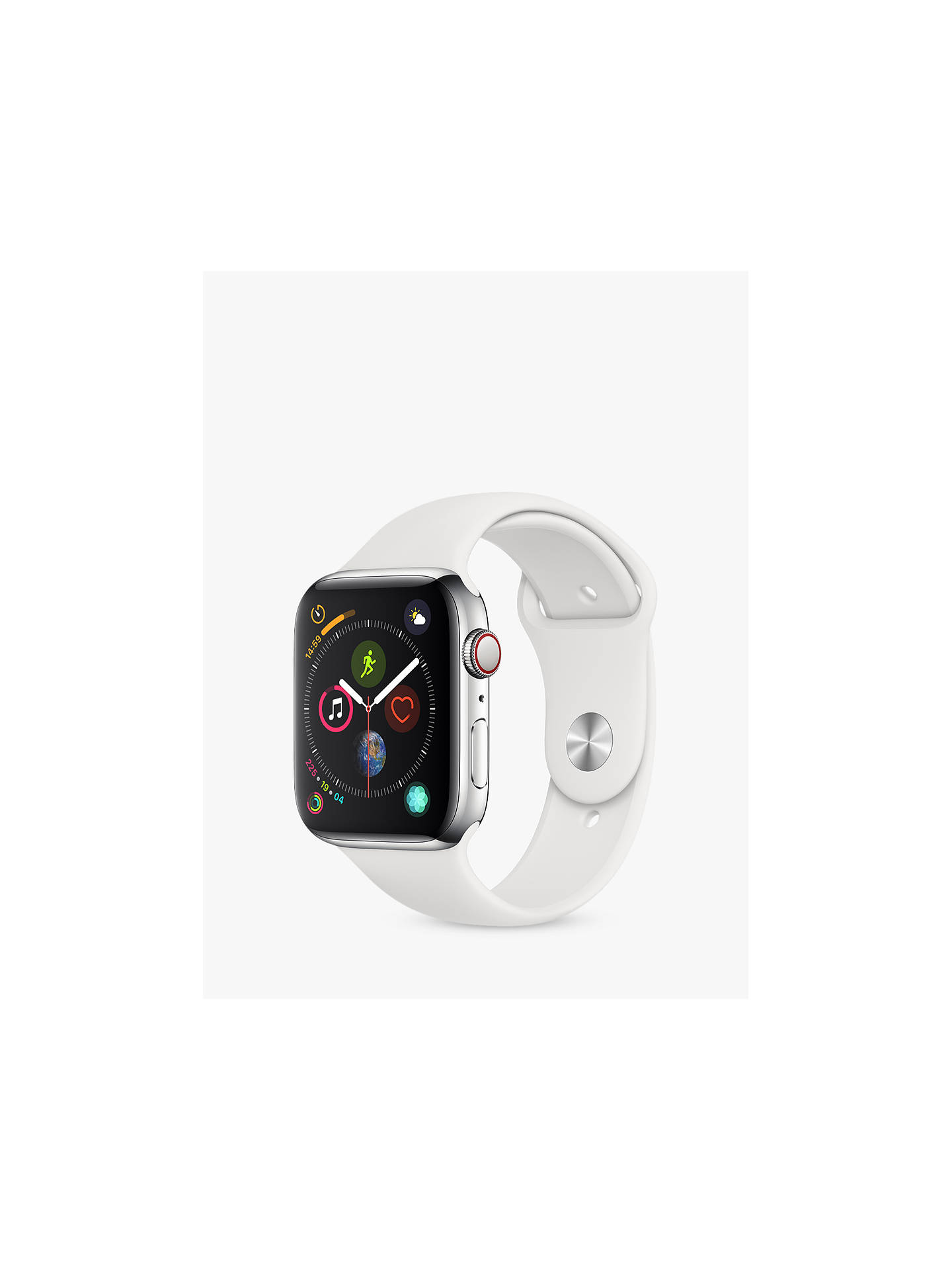 BuyApple Watch Series 4, GPS and Cellular, 44mm Stainless Steel Case with Sport Band, White Online at johnlewis.com