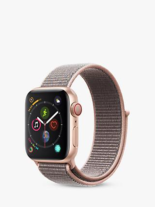 Apple Watch Series 4, GPS and Cellular, 40mm Gold Aluminium Case with Sport Loop, Pink