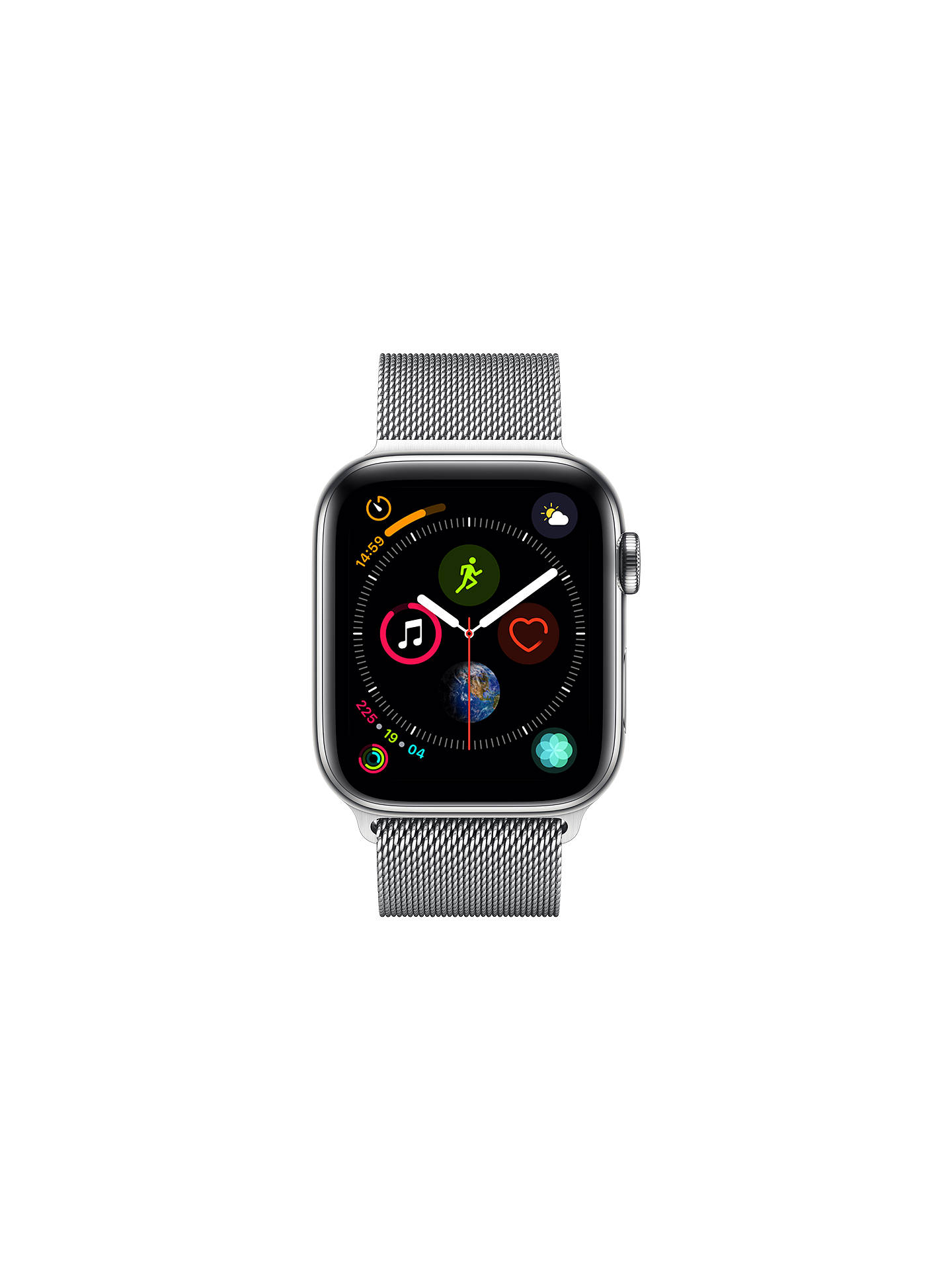 BuyApple Watch Series 4, GPS and Cellular, 44mm Stainless Steel Case with Milanese Loop, Silver Online at johnlewis.com