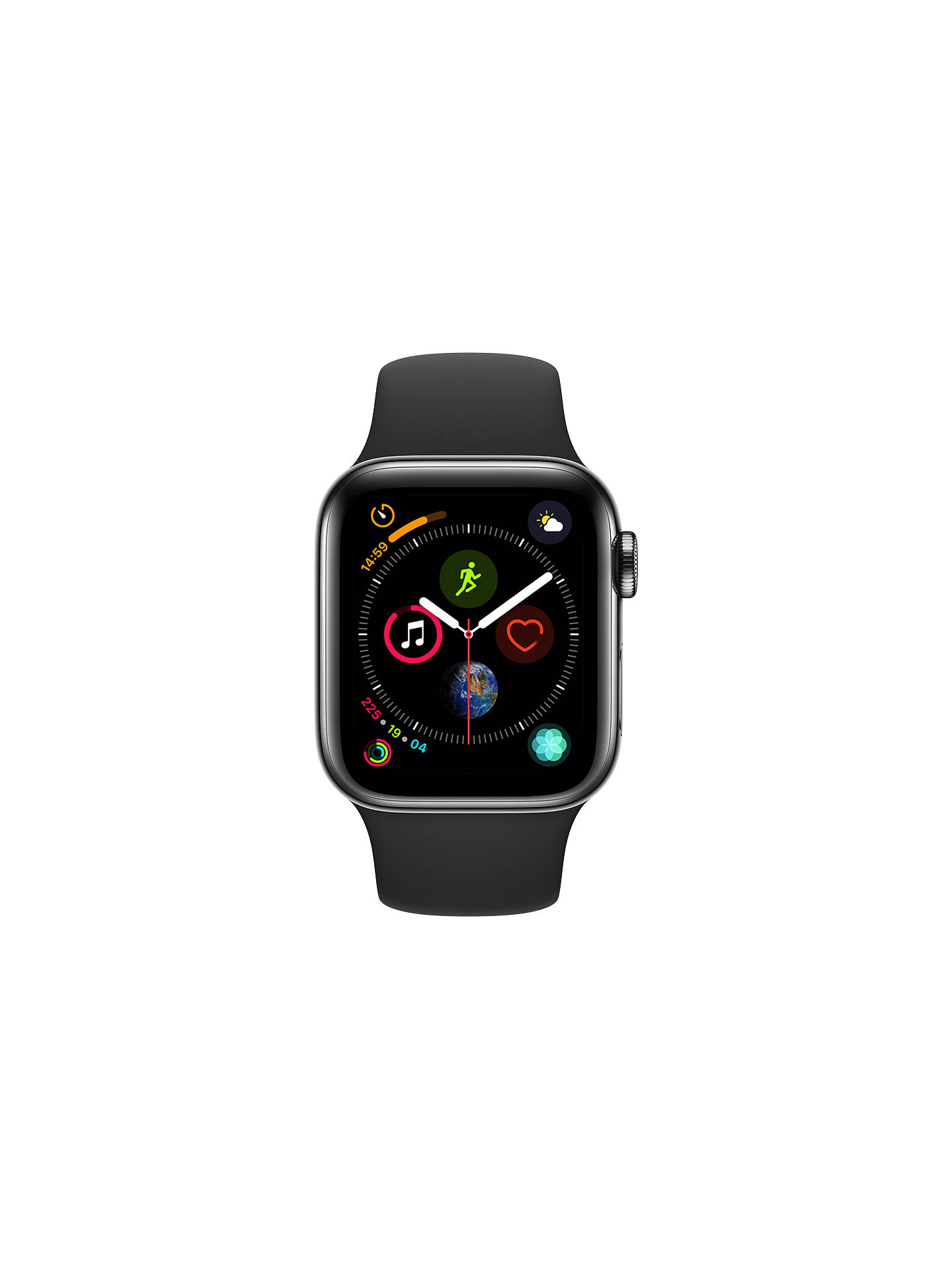 BuyApple Watch Series 4, GPS and Cellular, 40mm Stainless Steel Case with Sport Band, Black Online at johnlewis.com