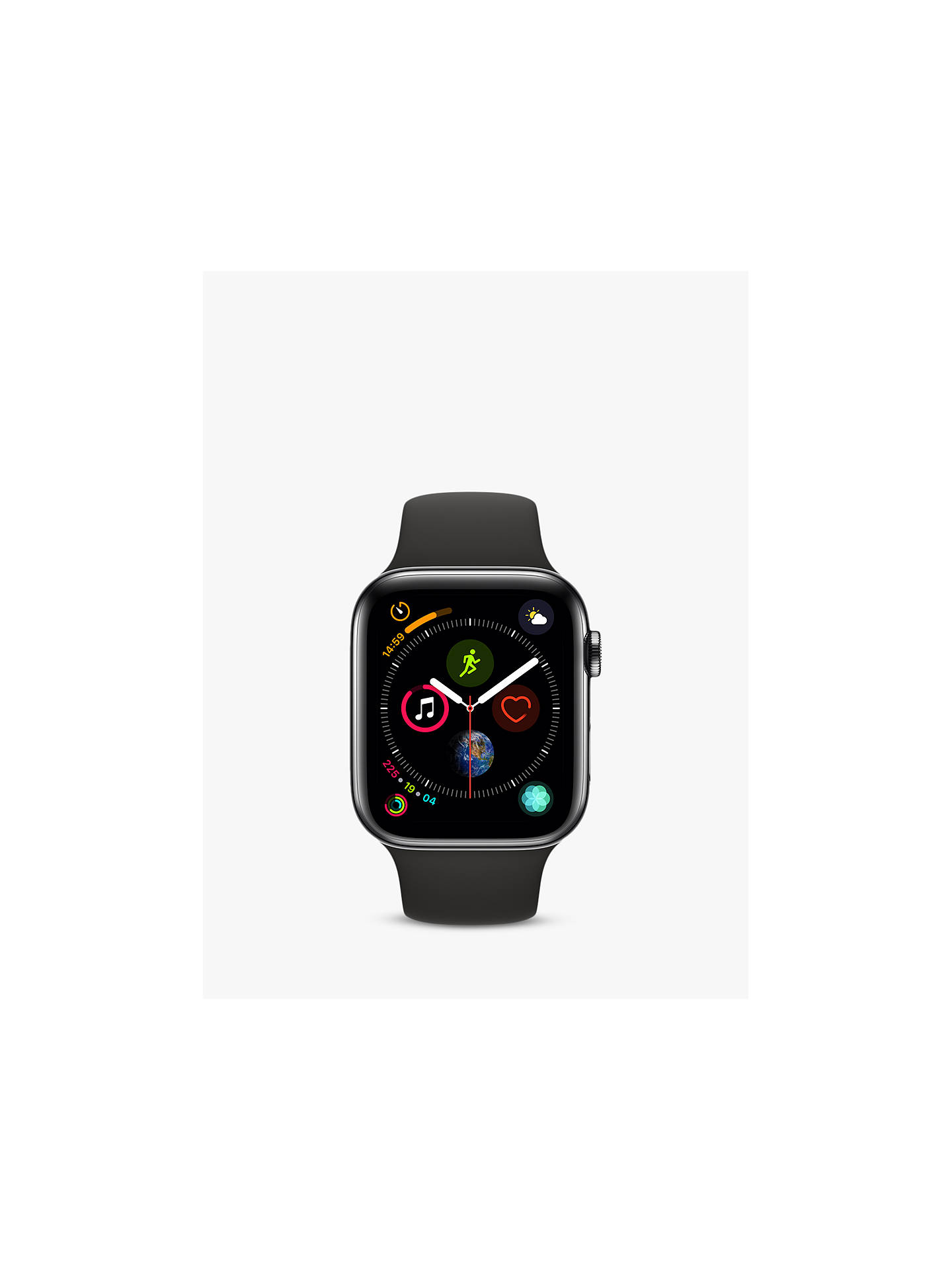 BuyApple Watch Series 4, GPS and Cellular, 44mm Space Grey Stainless Steel Case with Sport Band, Black Online at johnlewis.com