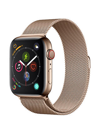 Buy Apple Watch Series 4, GPS and Cellular, 44mm Stainless Steel Case with Milanese Loop, Gold Online at johnlewis.com